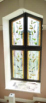 Оливковая ветвь - витраж на окне в доме. Авторские Витражи, Липецк