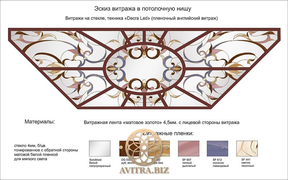 Рисунок витражного потолка в стиле Арт-деко