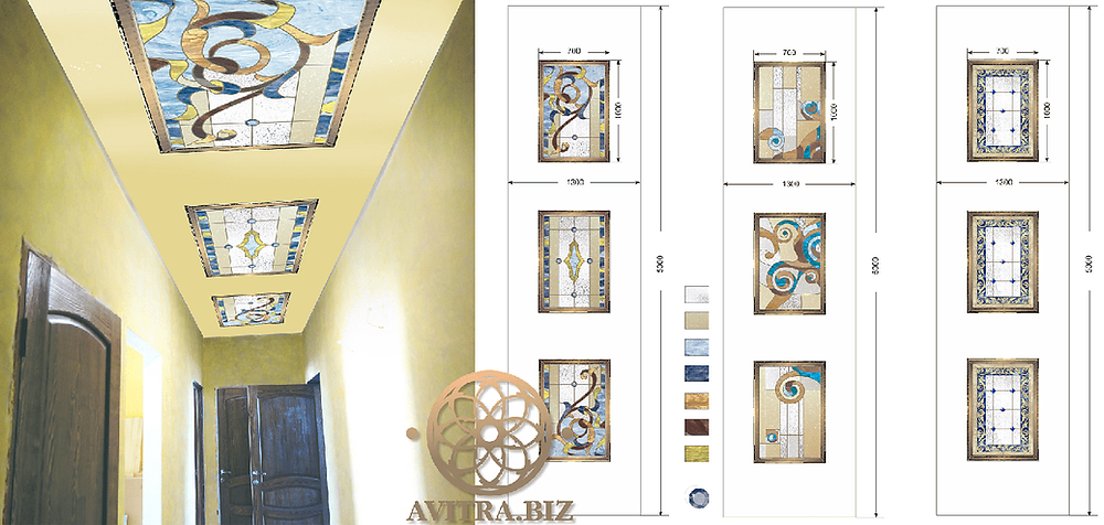 Графический дизайн потолка с витражами для квартиры