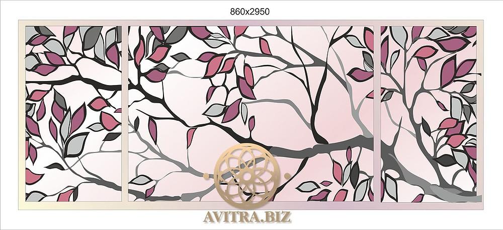 Графический рисунок ветви дерева в лиловых и серебристых тонах