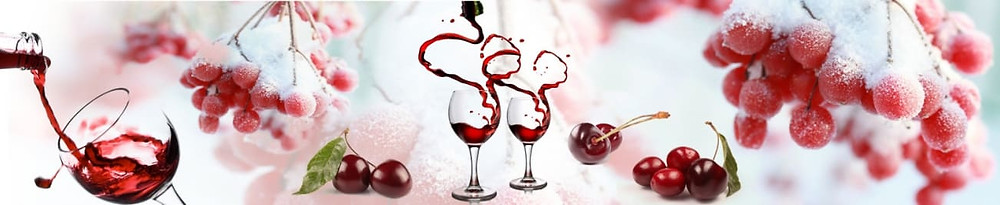 Светлое изображение с красными акцентами, рябина и вино