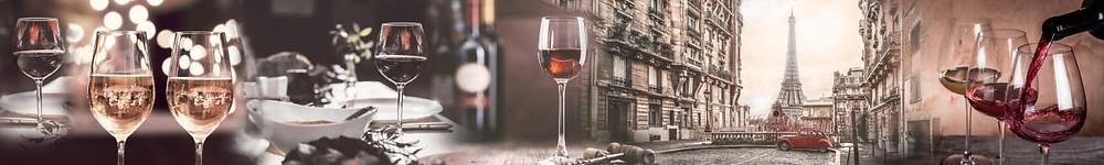 Коллаж с изображением улиц Парижа и бокалы красного вина