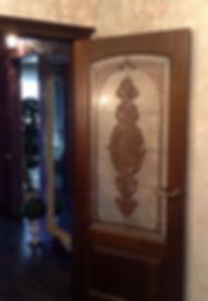 Витраж для двери с фацетами, изготовление в Липецке