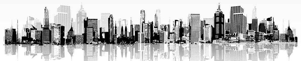 Графическое черно-белое векторное изображение города