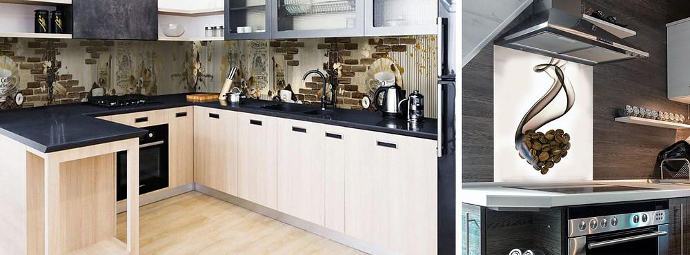 Кухонный гарнитур с фартуком из стекла с изображением на кофейную тему