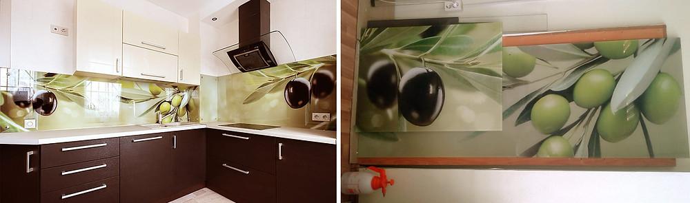 """Фотопечать на стеклянном фартуке для кухни""""Оливки"""""""