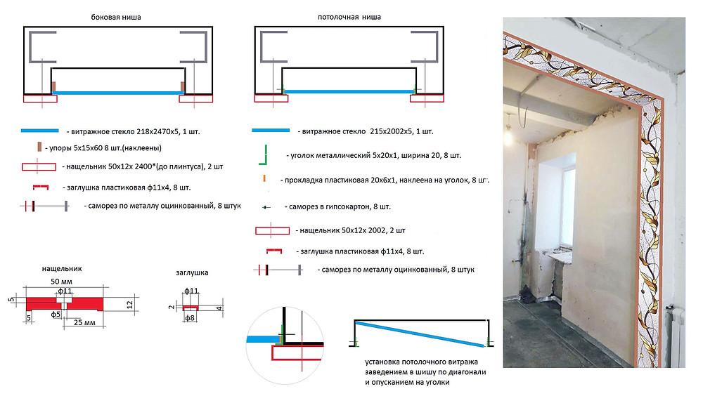 Чертёж конструкции ниши под установку витража с подсветкой