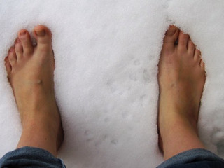 Sweetie, your feet are freezing