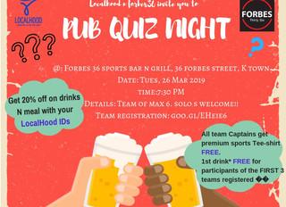 Localhood N Forbes 36 Pub Quiz Nite