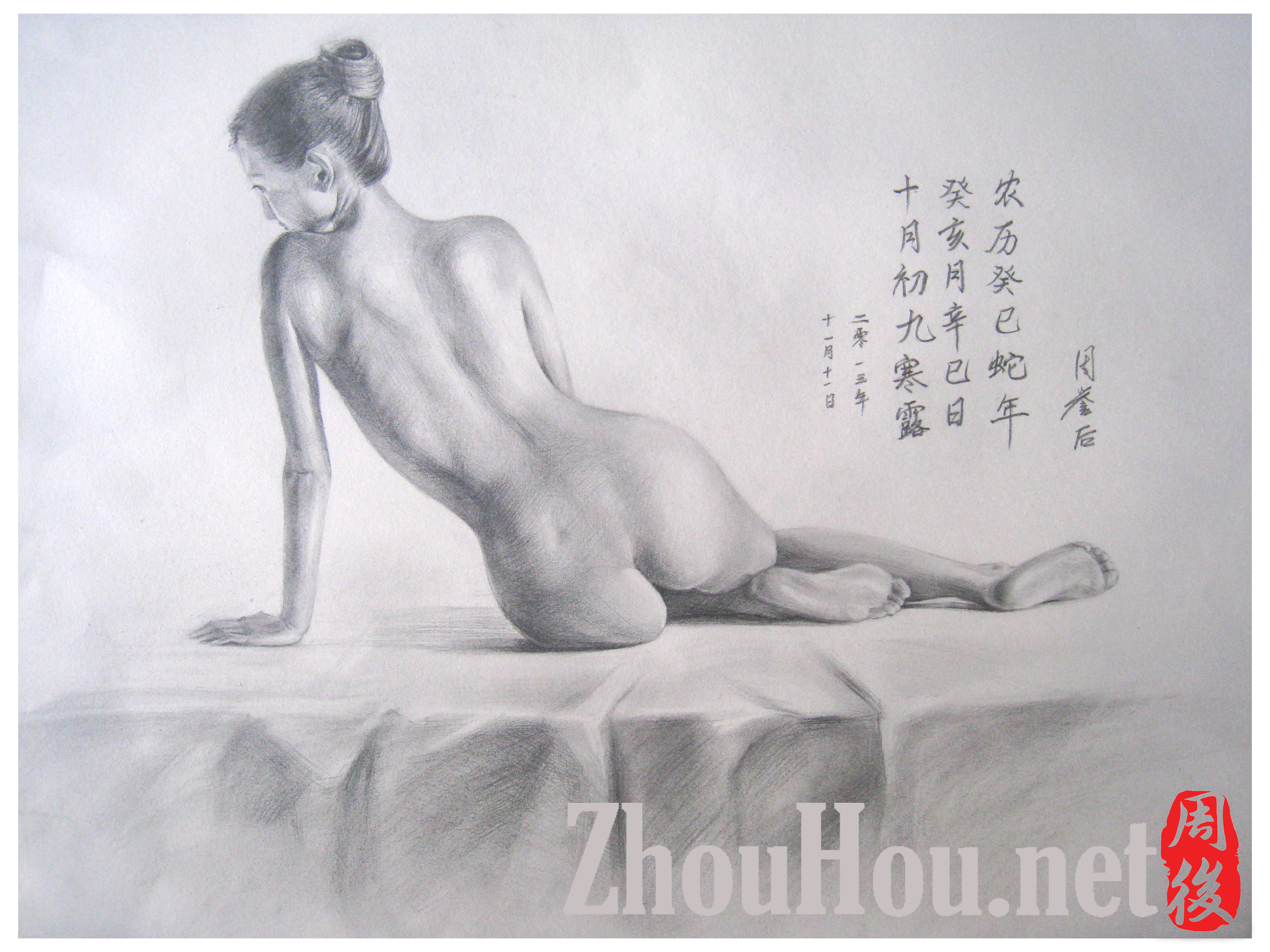 View of nude back