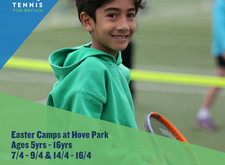 JUNIOR TENNIS EASTER HOLIDAY CAMPS AT HOVE PARK
