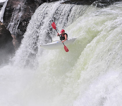 Kayaker going over the Youghigheny Falls in Ohiopyle