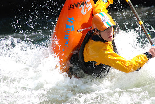 Kayaker braving the Youghigheny rapids in Ohiopyle