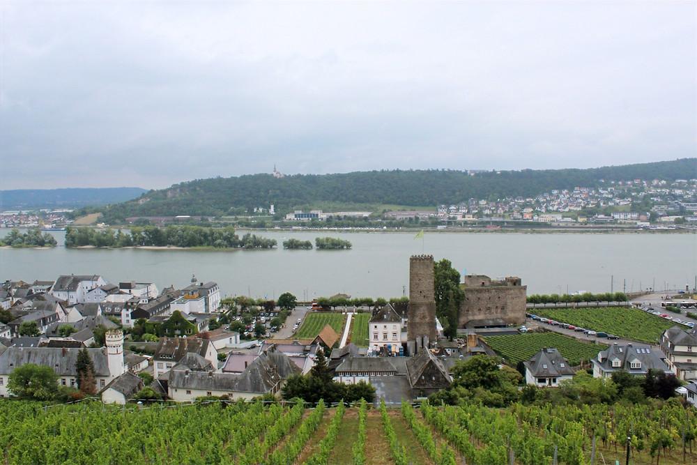 Vista de Rüdesheim, pueblito vinícola en Alemania.