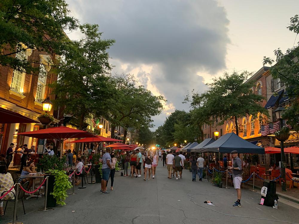 King Street en Old Town Alexandria en Virginia.
