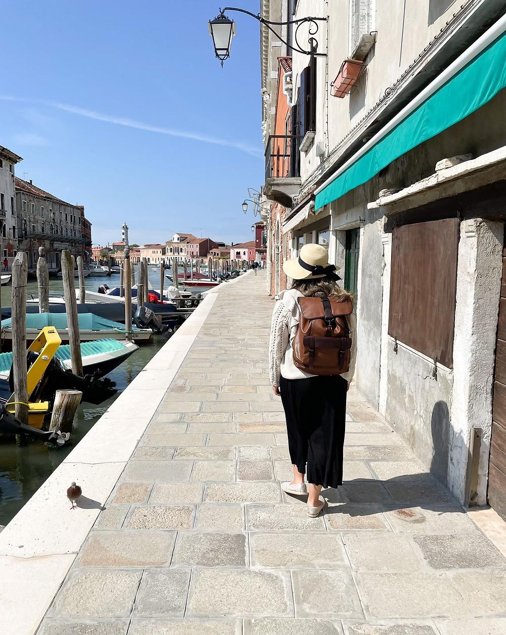 Visitando la isla de Murano en Italia.