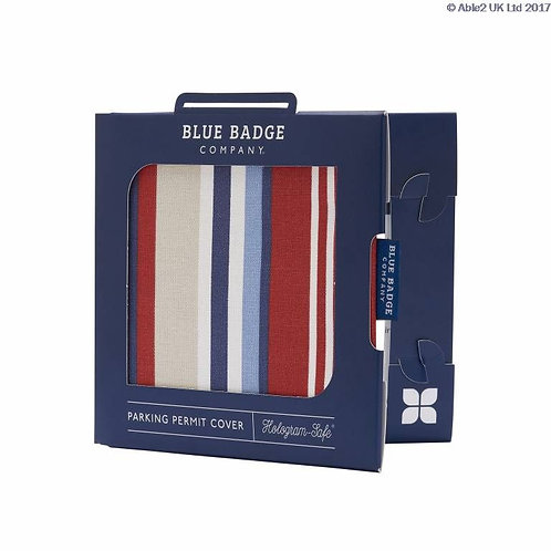 Blue Badge Permit Cover - Steller Strip Blue/Red Cotton VAT EXEMPT