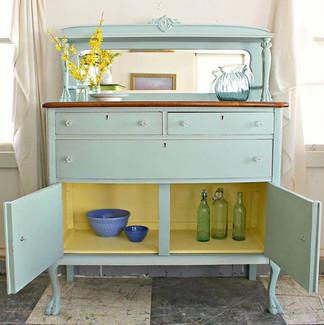 Add a pop of color inside a cabinet or bookcase.