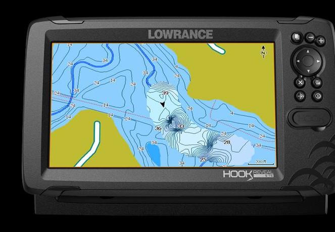 GPS fish radar with a map of Lake Balaton