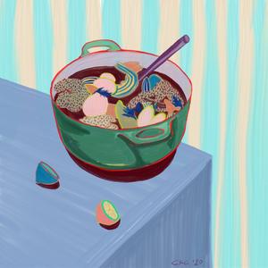 Food illustration of seafood stew and lemons on a table