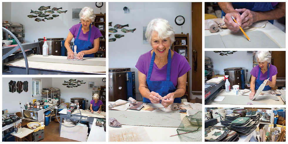 Ceramic artist Hollis Hansen working in her studio