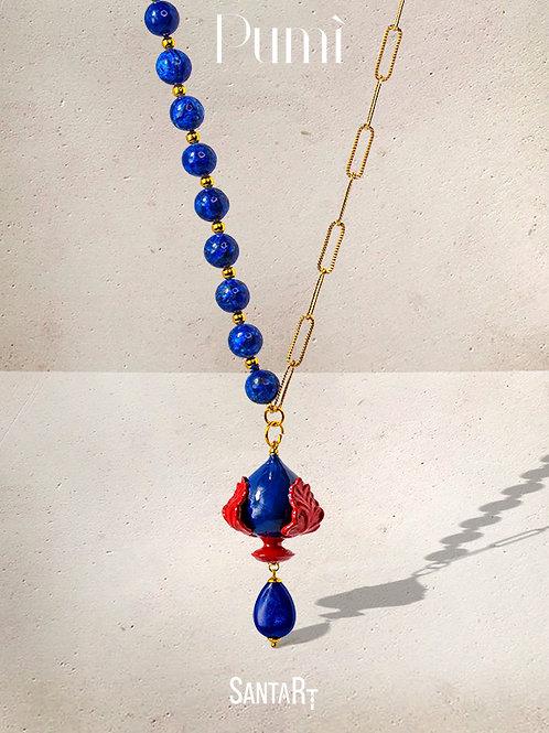 Collana Pumo blu e rossa
