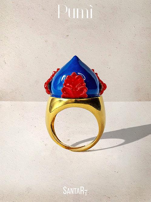 Anello Pumo blu e rosso