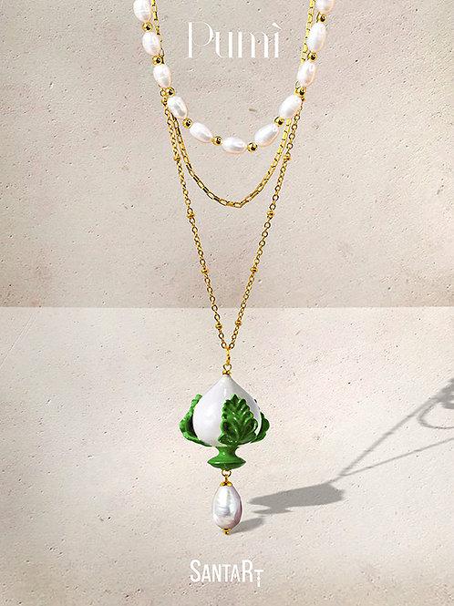 Collana Pumo bianco e verde