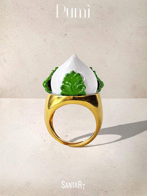 Anello Pumo bianco e verde
