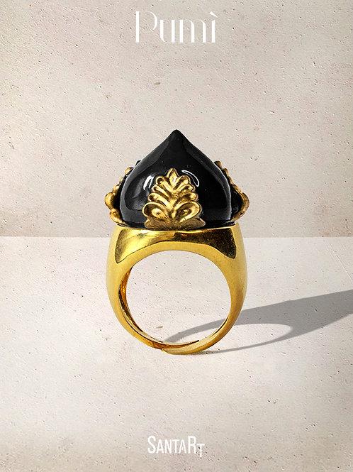 Anello Pumo nero e oro