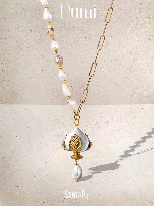 Collana Pumo bianco e oro