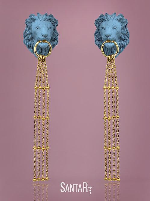 Orecchini Leone turchese