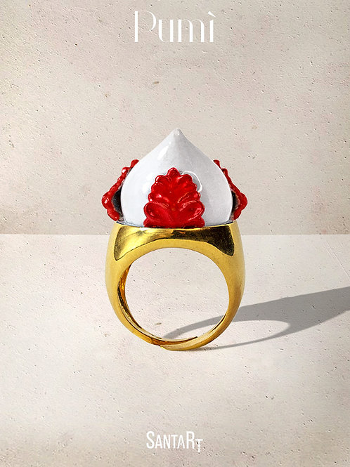 Anello Pumo bianco e rosso