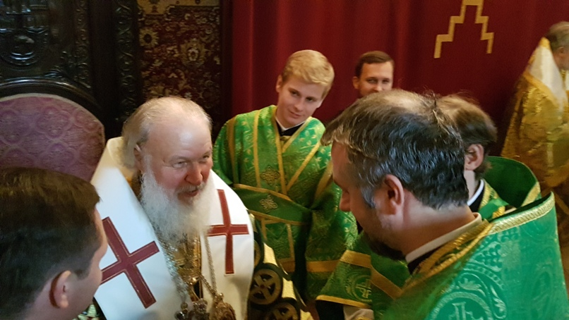 HH Patriarch Cyril and Fr. Sorin