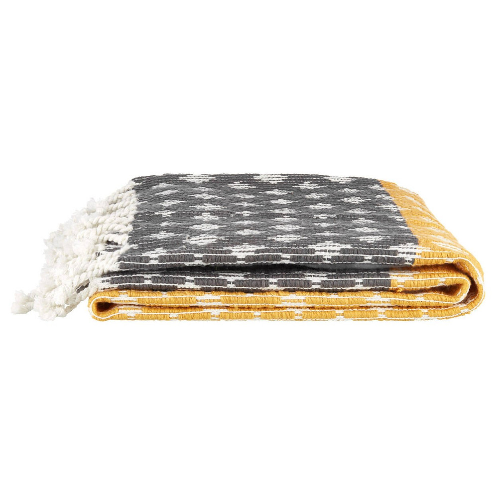 boho style grey and yellow blanket with white accents and tassles