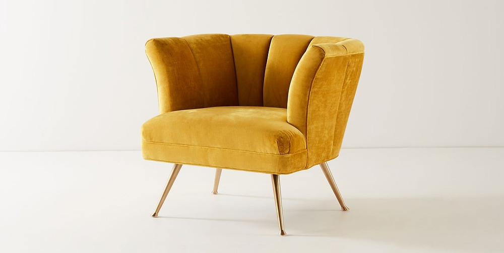 Tulip backed yellow velvet chair with gold legs