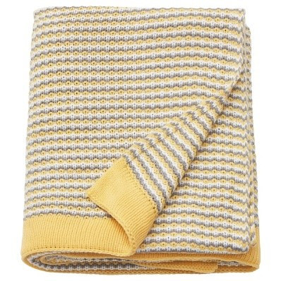 woven grey and yellow throw blanket