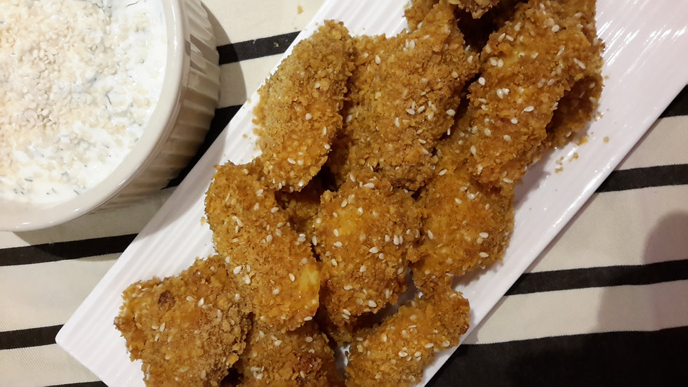 Crunchy crumbed sesame snapper strips