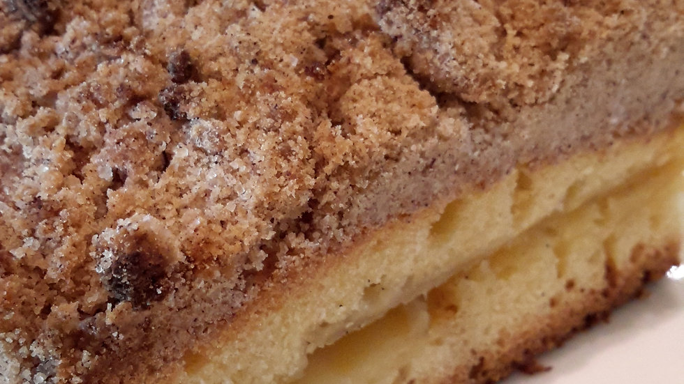 Apple sponge cake squares, topped with a crunchy crumb topping - Child