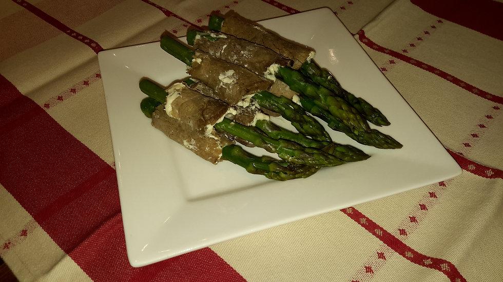 Asparagus & roast beef roll ups