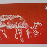 Printmaking - Reindeer Card