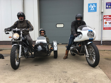 Gusto Motorbikes _ Royal Enfield sidecar combination and BMW R100S café racer bespoke builds