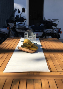 A sun-dappled terrace for brakfast before heading out for your adventure.