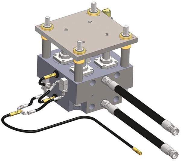 Esta ilustração mostra uma almofada hidráulica servo-controlada com cilindros de dupla ação, transdutores lineares e transdutores de pressão. A unidade hidráulica pode ser montada na parte inferior da prensa.