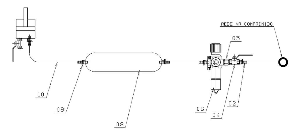 Esquema pneumática almofada para prensas excêntricas