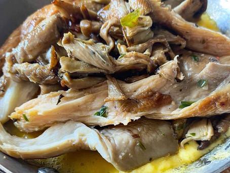 Mixed Oyster Mushrooms bruschetta w/ truffled hollandaise, rockets and hazelnuts.