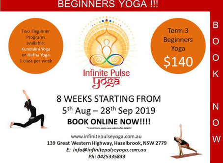 Beginners Yoga Starts soon, 5th of August!!!