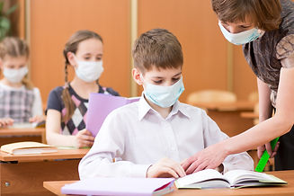 school children with protective masks ag