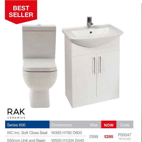 Toilet and basin pack