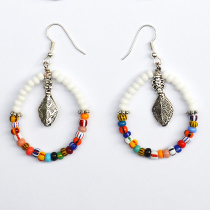 Full Circle White Earrings
